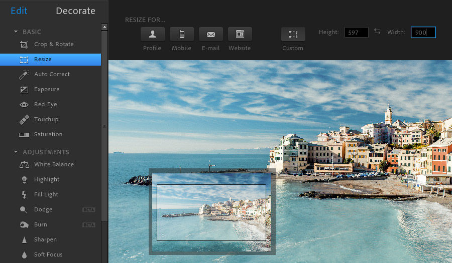 Photoshop Express Editor - Resize