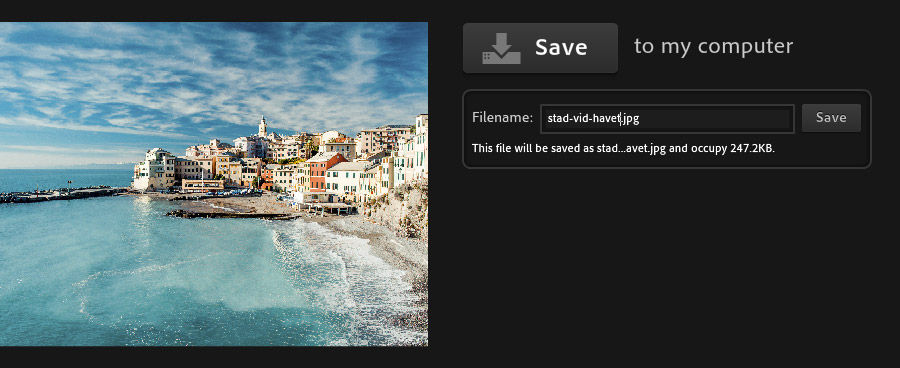 Photoshop Express Editor - Save